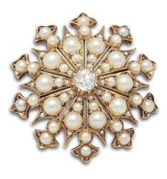 Estate Diamond & Pearl Vintage Starburst Brooch Diamond Cuts, Pearl, Brooch, Jewels, Gold, Collection, Vintage, Bead, Jewerly
