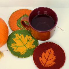 Add some fall charm to your home with some simple, vibrant fall coasters.  Full tutorial