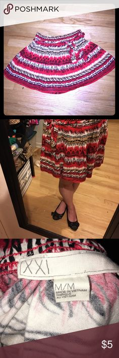 Size M Red, White, Black Forever 21 Skirt Super cute and super soft!! Wish it still fit! Forever 21 Skirts Mini