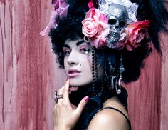 Black and pink victorian rococo marie antoinette sugar skull day of the dead wig. $250.00, via Etsy.