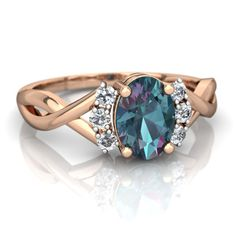 Lab Alexandrite Victorian Twist 14K Rose Gold ring R2497 - front view
