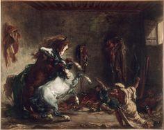 Eugène Delacroix, 'Chevaux arabes se battant dans une écurie', 1862.