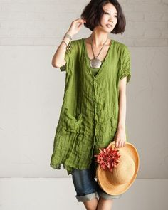 Green Loose Fitting Sheer Cotton And Linen Long Shirt by deboy2000, $49.00