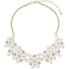 Dorothy Perkins White Flower Necklace ($17) ❤ liked on Polyvore featuring jewelry, necklaces, cream, dorothy perkins, white gold jewelry, white necklace, white jewelry and gold jewellery