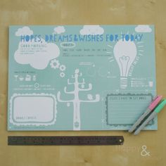 Blue 'hopes, dreams and wishes' A3 desk jotter
