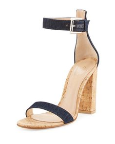 Gianvito Rossi Shoes at Bergdorf Goodman Navy Sandals, Rossi Shoes, Denim Fabric, Shoe Collection, Cork, Block Heels, Ankle Strap, Luxury Fashion, Bergdorf Goodman