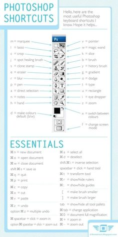Shortcuts to know when using Photoshop.    Lastly, know your shortcuts!!