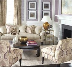 Interior Design Trends: Gold. Ethan Allen Living Room With Gold Accents.