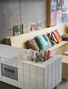 View full picture gallery of Coffeecompany Oosterdok Coffee Shop Design, Cafe Design, Store Design, Commercial Design, Commercial Interiors, Cafe Restaurant, Restaurant Design, Gallery Cafe, Tile Counters