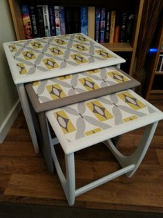 Retro nest of tables Retro Furniture, Upcycled Furniture, Furniture Ideas, Vanity Ideas, Orla Kiely, Nesting Tables, Small Tables, Cath Kidston, Furniture Makeover
