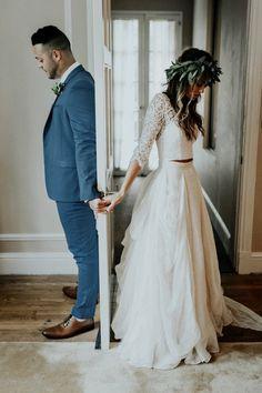 Iridescent Pastels Make This Whimsical Wedding Inspiration Pop! Two Piece Wedding Dress, Wedding Dress Chiffon, Wedding Dress Sleeves, Chiffon Skirt, Bohemian Lace Wedding Dress, Wedding Dress Boots, Different Wedding Dress Styles, Wedding Dress Topper, Courthouse Wedding Dress