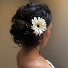 Loose Waves With Flower Bridal Updo  10 Beautiful Bridal Updos