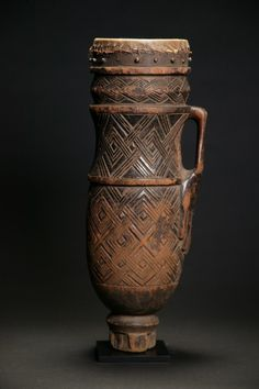 Africa | Drum from the Kuba people of DR Congo | Wood, skin, rattan binding | ca. early 1900s