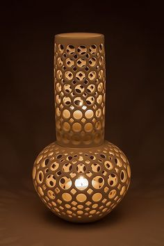 Double Gourd Lantern by Lynne Meade: Ceramic Vessel available at www.artfulhome.com