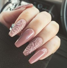 """If you're unfamiliar with nail trends and you hear the words """"coffin nails,"""" what comes to mind? It's not nails with coffins drawn on them. Although, that would be a cute look for Halloween. It's long nails with a square tip, and the look has. Rose Nails, Pink Nails, Gel Nails, Coffin Nails, Stiletto Nails, White Nails, Nail Polish, Ivory Nails, Nail Black"""