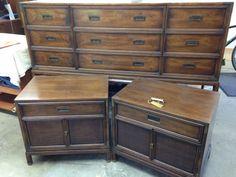 Henredon Campaign Dresser And Nightstands Shire Blue Vintage Gems