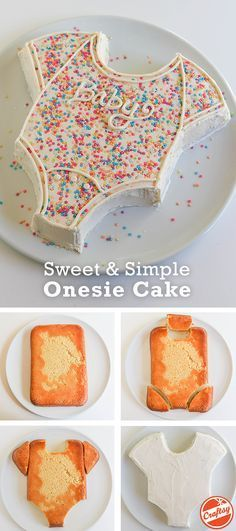 Get a step by step baby onesie cake tutorial on the Craftsy.com. Would be ideal for a baby shower for a boy or a girl