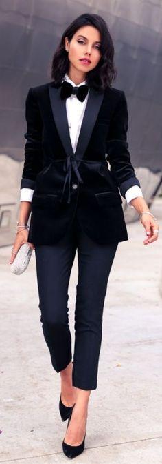 Saint Laurent velvet bow tie | J CREW Collection velvet shawl-collar tuxedo blazer & Campbell capri pant in bi-stretch wool worn by:  vivaluxury.blogspot.com