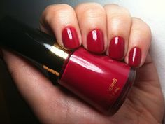 """Revlon 270: """"Cherries in the Snow"""".  My current favorite nail polish color.  It's delightful!   P.S. Those are not my hands...but aren't they beautiful hands?"""