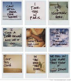 Polaroid diaries-- for some reason, I found this beautifully heartbreaking