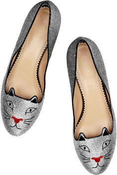 Net-A-Porter: Charlotte Olympia - Glitter Kitty embroidered glitter-finished slippers.