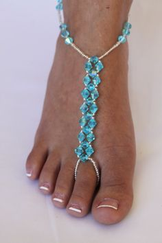 Barefoot Sandals Bridal Crystal Beach Wedding Foot Jewelry Customizable Crystals