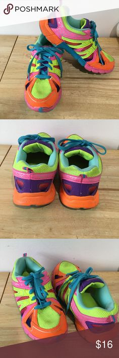 Danskin Mesh Sneakers Girls Good preowned condition Lightweight Rainbow Colors  Some stains and scuffs. Lots of wear left. Danskin Shoes Sneakers