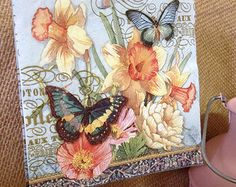 Spring Butterflies Set of 2 Cocktail Paper Napkins Decoupage Collage Fresh Daffodils Flower Fields