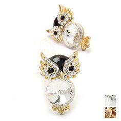 Sparkling Rhinestone Owl Stud Earrings