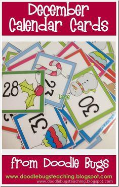 Doodle Bugs Teaching {first grade rocks!}: December Calendar Cards {free download}
