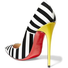 Christian Louboutin So Kate 120 striped patent-leather pumps, Women's, Size: 39.5 found on Polyvore featuring polyvore, women's fashion, shoes, pumps, christian louboutin shoes, patent leather pumps, stripe shoes, patent pointy toe pump and christian louboutin