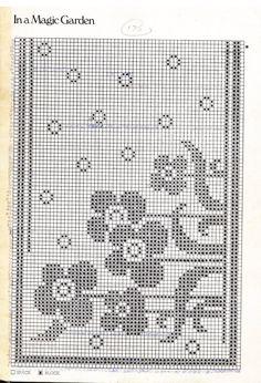 In a magic garden Lace Doilies, Crochet Doilies, Crochet Flowers, Knit Crochet, Filet Crochet Charts, Knitting Charts, Cross Stitch Flowers, Cross Stitch Patterns, Fillet Crochet