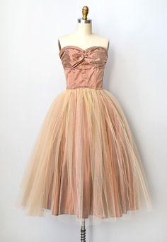 vintage 1950s party dress | tulle 50s dress