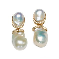 Baroque Freshwater Pearl and Diamond Earrings with Removable Drops - Katy Briscoe, Fine Jewelry and Home Collection