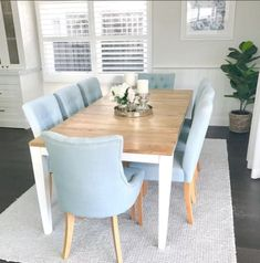 [New] The 10 Best Home Decor (with Pictures) - Feel the breeze with a Porcelain Blue set of Espen Dining Chairs. Styled by Tap image for featured product details and share your photos with us by tagging West Elm Dining Table, Dining Table Chairs, Fabric Dining Chairs, Console Tables, Estilo Hampton, Dinner Tables Furniture, Table Color, Les Hamptons, Dinner Room