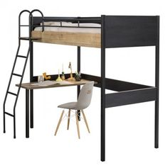 New York Compact tienerkamer slaapkamer Specialist in kinderkamers en slaapkamers High Sleeper With Desk, High Sleeper Bed, Box Bedroom, Kids Bedroom, High Beds, Study Desk, Study Areas, Black Desk, Childrens Beds