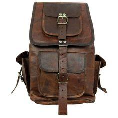 SALE Leather Backpack Messenger Bag Handmade Soft Leather Mens Unisex School College Satchel Handbags/Bags Picnic Weekend bag found on Polyvore