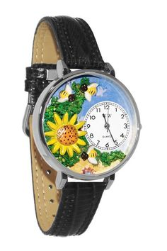 Whimsical Watches Sunflower Silver Leather And Silvertone Watch