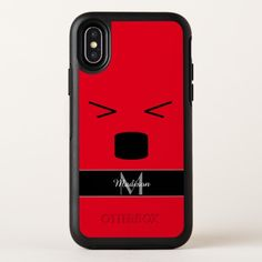 Personalize Cool Funny smiley hurting face red black Monogram OtterBox iPhone X 8 7 6 Case by #PLdesign #style #fashion #accessories @zazzle