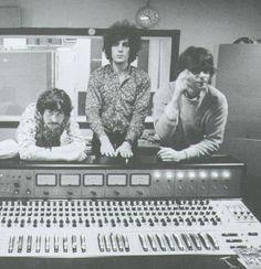 Nick Mason, Syd Barrett and Rick Wright in De Lane Lea studio, October ...