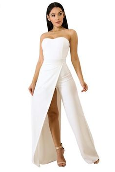 dd09b11e36bd Her Fashion White Irregular Split Leg Strapless Elegant Jumpsuit