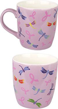Pink Ribbon Dragonfly Grande Mug at The Breast Cancer Site. Funds free mammograms for women in need.