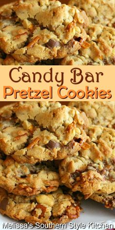 Cupcakes, Homemade Chalkboard, Cookie Recipes, Dessert Recipes, Cookie Desserts, Healthy Desserts, Dessert Ideas, Pretzel Cookies, Candy Bar Cookies
