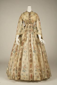 1856 cotton American printed Dress