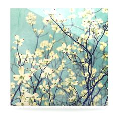 "Ann Barnes ""Pure"" Teal Floral Luxe Square Panel"