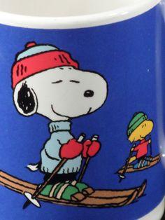 Cute VTG Charles Schulz Peanuts Snoopy & Woodstock Winter Ski Skiing Mug Cup