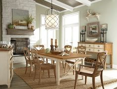 This dining style is simply classic! The unique, two-tone rustic finish on the spieces allows you to create your own fashionable look with the choice of either buttermilk or sand-colored chairs. An attention to style, detail and convenience coordinates the pieces in the dining collection. The vintage X-design in the chair backs and dining base unite the set and accentuate any room.