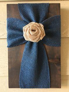 Blue Burlap Cross on a Dark Brown Stained Wood Board Tan Burlap Flower  10x15 $25   *All Sales Final