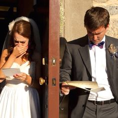 The bride and groom reading handwritten letters from each other, separated only by a door, just minutes before becoming Mr. and Mrs.