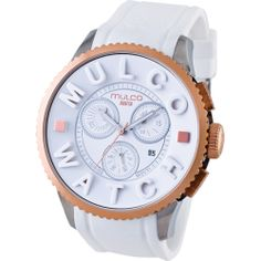 Buy Mulco POST MWATCH 3D COLLECTION Chronograph Unisex Watch MW3-10302-013 price - Rose gold-tone steel and IPB case. White silicon strap. White dial. Swiss quartz movement. Chronograph. Date. Water resistant 50 meters. Case...
